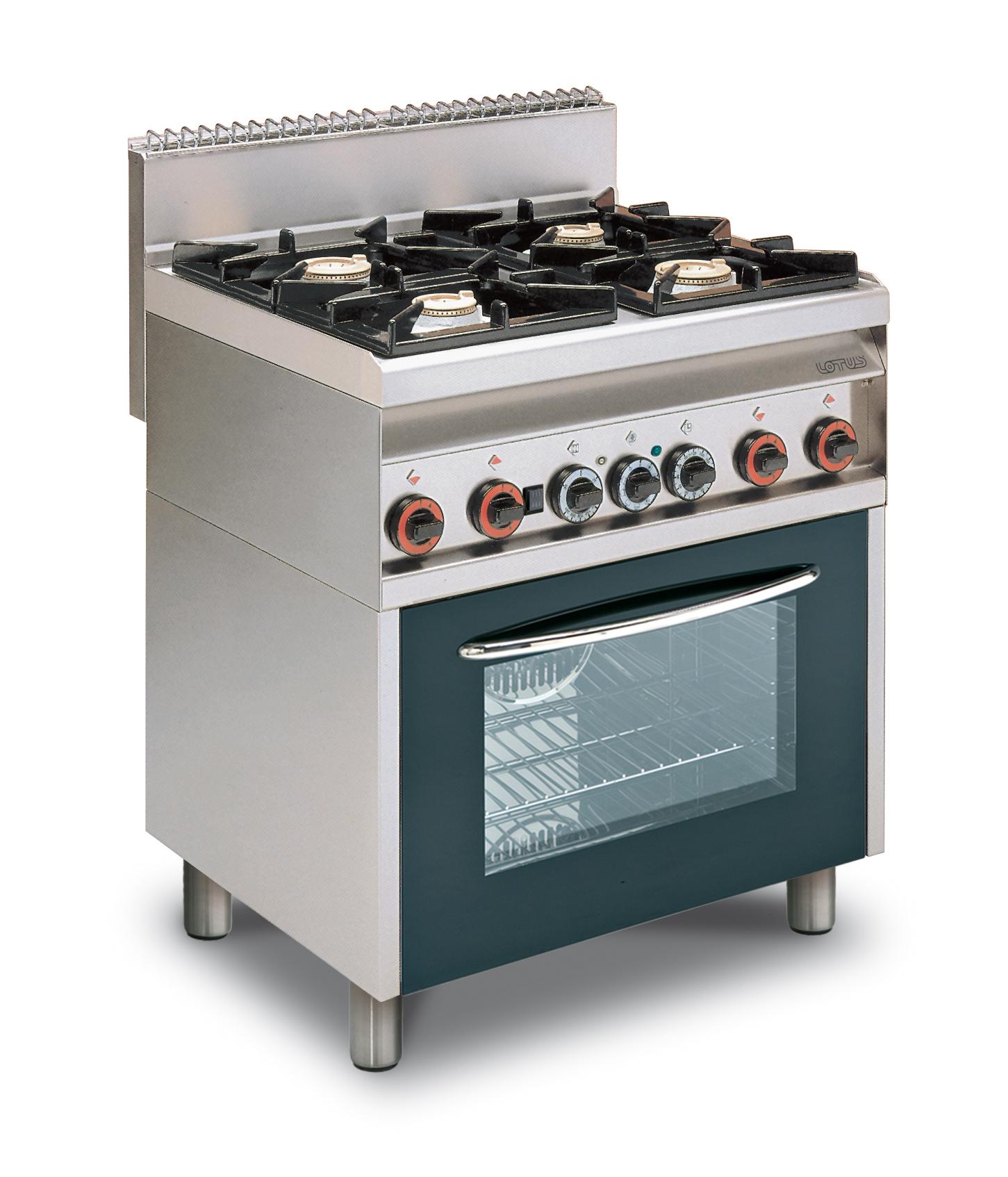 Cucina gas 4 fuochi su forno elettrico multifunzione ...