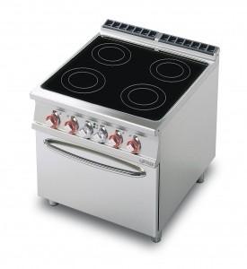 cucina 4 piastre vetroceramica forno elettrico statico GN 2/1